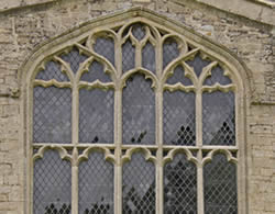 Secured East window at St Kyneburgha's