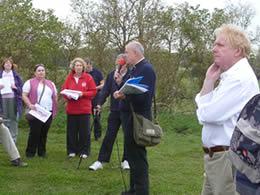 Canon William Burke speaking to Durobrivae visitors