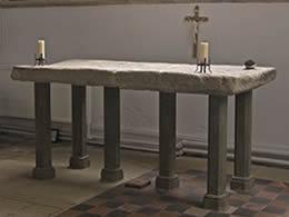 Restored mediaeval mensa or altar